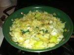 Smell up the house and saute 3 chopped onions until translucent.